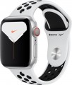 Apple - Apple Watch Nike Series 5 (GPS + Cellular) 40mm Silver Aluminum Case with Pure Platinum/Black Nike Sport Band - Silver Aluminum