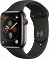 Apple - Apple Watch Series 4 (GPS + Cellular), 44mm Space Black Stainless Steel Case with Black Sport Band - Space Black Stainless Steel