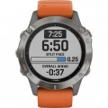 Garmin - fēnix 6 Sapphire Smartwatch 47mm Fiber-Reinforced Polymer - Titanium With Ember Orange Band