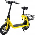 Phantom Bikes - Sit and Go C1 Foldable Electric Scooter w/15 mi Max Operating Range & 15.5 mph Max Speed - Yellow