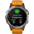 Garmin - Fēnix 5 Plus Sapphire Smart Watch - Fiber-Reinforced Polymer - Solar Flare Orange